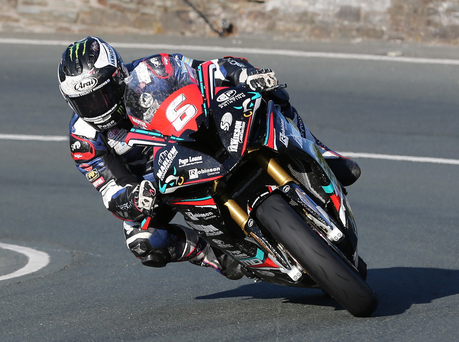 Speed king: Michael Dunlop on his BMW - MD Racing bike sets the pace at the Isle of Man.