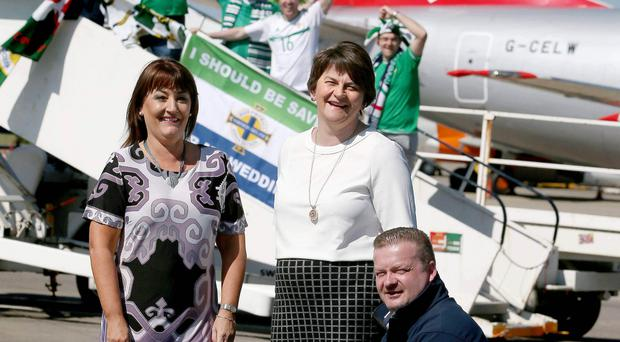 First Minister Arlene Foster joined with local manufacturing company Andante Percussion who have designed limited edition drums for supporters for the forthcoming Euro Championships in France