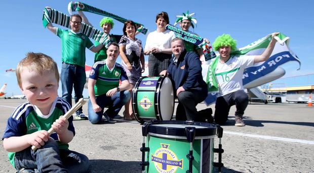 To mark the presentation of the drums, First Minister Arlene Foster and Oonagh Hinds (Executive Director of Invest NI), joined Andante at Belfast International Airport to greet fans on their way to France