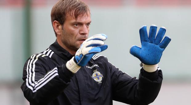 Northern Ireland's Roy Carroll during Friday night's training session at the City Arena stadium ahead of Saturdays final Euro 2016 warm-up friendly against Slovakia in Trnava.