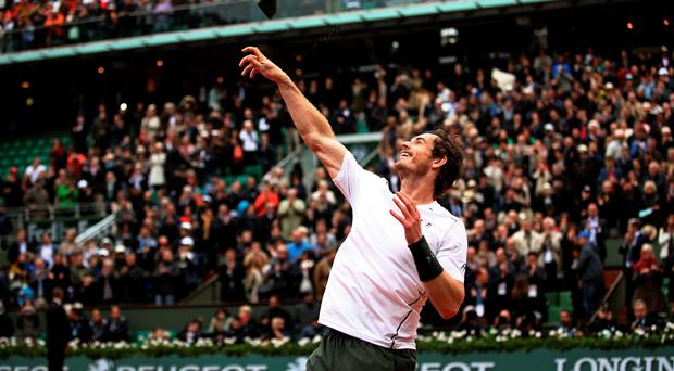 Big win: Andy Murray enjoys the moment after his victory