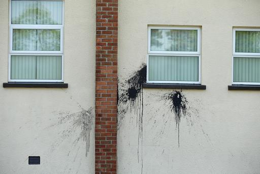 The paint attack on Crewe Orange Hall in County Antrim. Picture by Press Eye