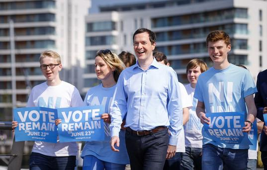 The Chancellor George Osborne at the Belfast Harbour as he meets with local campaigners as he warns of Impact on leaving the EU for Northern Ireland on June 05 2016 in Belfast , Northern Ireland ( Photo by Kevin Scott / Presseye)