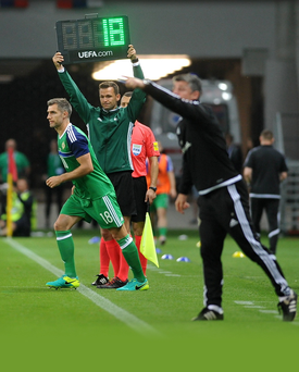 Milestone: Aaron Hughes comes on for his 100th Northern Ireland appearance