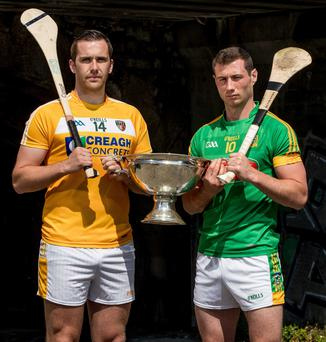 Antrim's Conor Carson and Meath's James Toher with the Christy Ring Cup