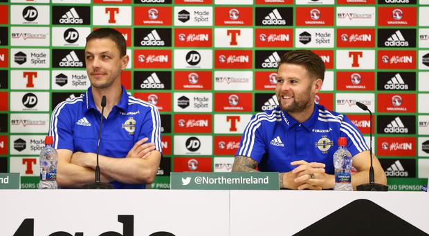 Northern Ireland's Chris Baird and Oliver Norwood pictured during their first press conference in the Media Centre in France ahead of their opening Euro 2016 game against Poland on Sunday. Press Eye - Belfast - Northern Ireland - 05th June 2016 - Photo by William Cherry