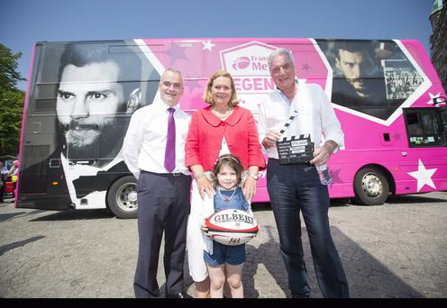 Rory Best and Jamie Dornan were the ultimate winners to appear on a special Double Decker bus. Pictured with Translink's Group Chief Executive Chris Conway are Rory Best's mum and daughter, Pat and Penny Best alongside Jamie Dornan's dad Dr Jim Dornan. Picture by Brian Morrison.