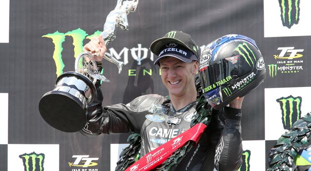 Ian Hutchinson (TTC Yamaha) celebrates his victory in Supersport race 1 at Isle of Man TT today. Picture: STEPHEN DAVISON PACEMAKER, BELFAST, 6/6/2016: