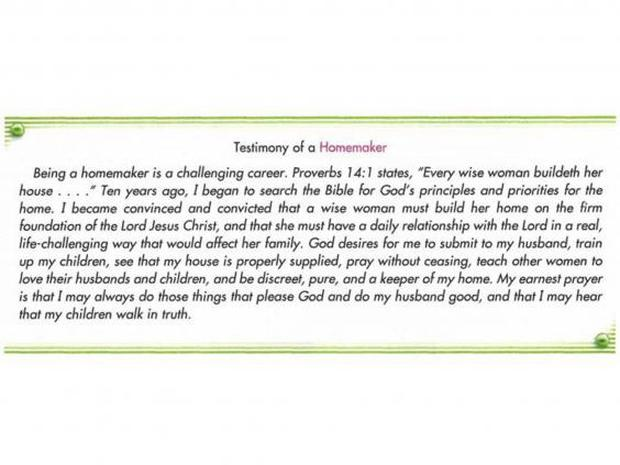 A passage from an Accelerated Christian Education textbook about the role of a 'homemaker'