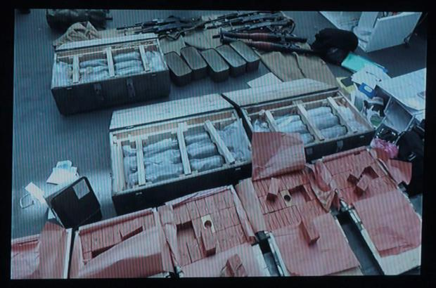 A video grab taken from an undated footage released by the Ukrainian SBU security service on June 6, 2016 allegedly shows the huge arsenal of weapons found in possession of an unidentified French national at the border with Poland, near the Ukrainian frontier town of Yagodyn. AFP/Getty Images