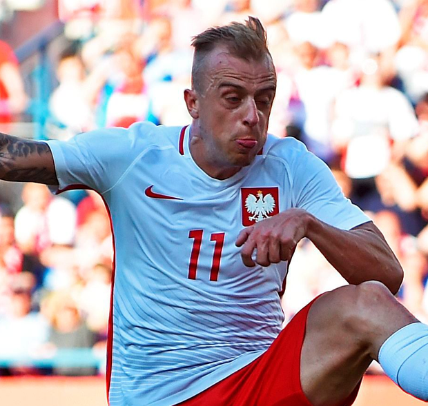 Not good enough: Poland ace Kamil Grosicki is unable to hit the target