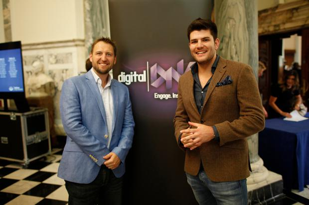 Roger Busby of Deloitte Digital and Mark Wright at the launch of Digital DNA at the City Hall. Pic by Peter Morrison