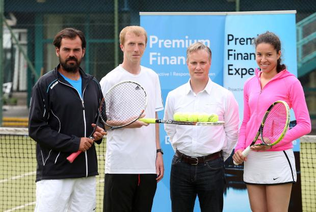 Making a racket: Przemek Stec, Tournament Director Chris Sanlon, Owen Graham of sponsors Keys Finance Group and Lucy Octave at the launch