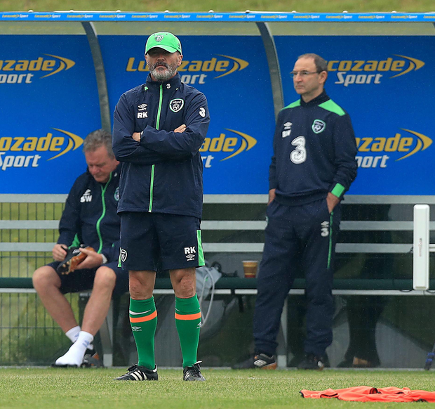 Cap fits: Roy Keane and Martin O'Neill (right) oversee the Republic of Ireland training session in Dublin yesterday