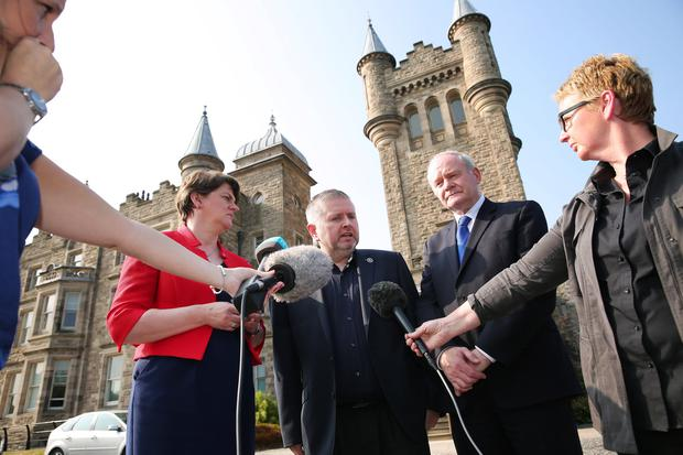 First Minister, Arlene Foster and deputy First Minister, Martin McGuinness met with Fr Gary Donegan at Stormont Castle to express their support. Photo by Kelvin Boyes / Press Eye