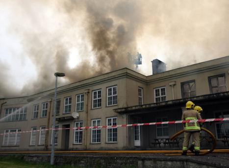 A fire has broken out at the former Lissue Hospital in Lisburn, County Antrim, Firefighers and police are at the scene on Ballinderry Road. Picture by Freddie Parkinson/Press Eye