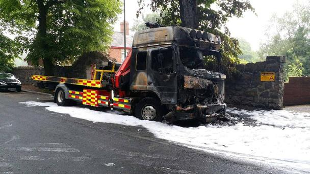 The truck has been completely destroyed in the arson attack