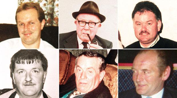 Those murdered were Barney Green, 87; Adrian Rogan, 34; Malcolm Jenkinson, 53; Daniel McCreanor, 59; Patrick O'Hare, 35; and Eamon Byrne, 39.