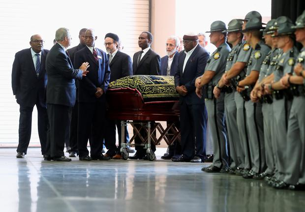 The body of Muhammad Ali arrives for an Islamic prayer service at the Kentucky Exposition Center on June 9, 2016 in Louisville, Kentucky. (Photo by John Moore/Getty Images)