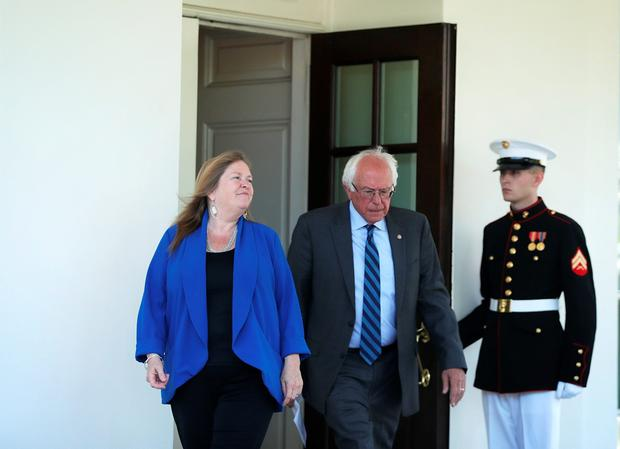 Democratic presidential candidate Sen. Bernie Sanders (D-VT) and his wife Jane O'Meara Sanders come out from the West Wing to speak to members of the meida after an Oval Office meeting with President Barack Obama at the White House June 9, 2016 in Washington, DC. (Photo by Alex Wong/Getty Images)