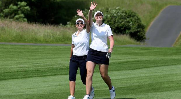 Big weekend: Charlotte Thomas and Olivia Mehaffey in the Great Britain and Ireland Curtis Cup team