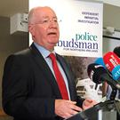 Northern Ireland Police Ombudsman Dr Michael Maguire speaking to the media at the Ramada Hotel in Belfast