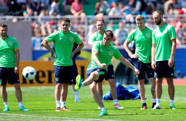 Republic of Ireland's Seamus Coleman during a training session at the Stade de Montbauron, Versailles. Pic: Chris Radburn/PA Wire.