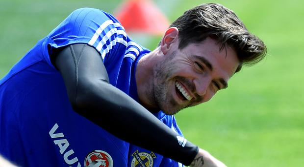Northern Ireland's forward Kyle Lafferty attends a training session at the team's training ground in Saint George de Reneins on June 10, 2016. Pic AFP PHOTO / PHILIPPE DESMAZESPHILIPPE DESMAZES/AFP/Getty Images