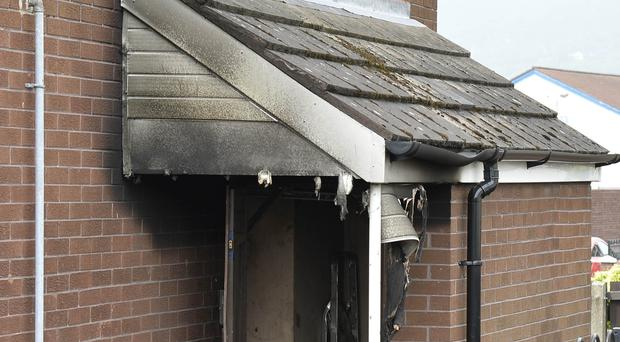 Two women and female youth arrested following arson attack at flat in Agnes St, Belfast. Picture by/Stephen Hamilton Press Eye
