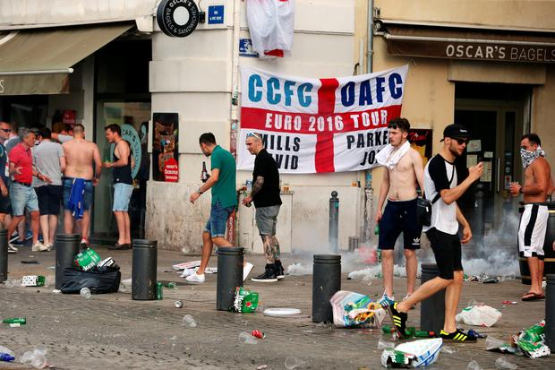 English football fans near to the The Queen Victoria pub in Marseille ahead of the first game in Euro 2016, as French police have clashed with English football fans. PA