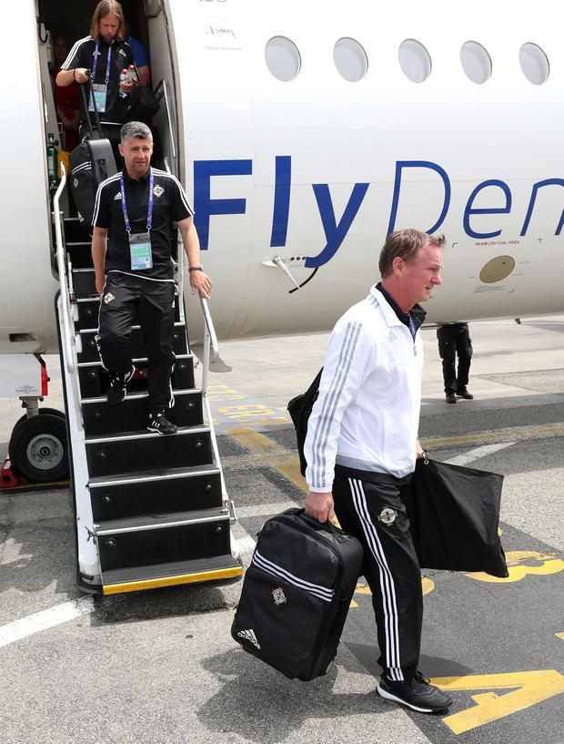 Press Eye - Belfast - Northern Ireland - 11th June 2016 - Photo by William Cherry Northern Ireland manager Michael O'Neill pictured getting off plane in Nice ahead of their opening Euro 2016 game against Poland on Sunday at the Stade de Nice.