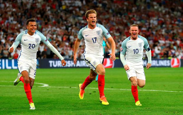 Eric Dier of England celebrates scoring his team's first goal during the UEFA EURO 2016 Group B match between England and Russia at Stade Velodrome on June 11, 2016 in Marseille, France. (Photo by Lars Baron/Getty Images)