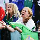 Fans at Belfast's Titanic Slipways as Northern Ireland concede the goal during Poland's 1-0 victory in the Euros on February 12, 2016 in Belfast, Northern Ireland ( Photo by Kevin Scott / Presseye)