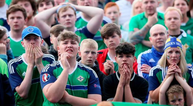 Northern Ireland fans watching the match against Poland