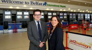 Chris McGarry, IT Manager at Belfast International Airport is pictured with Joanne McPoland, BT Business and Public Sector.
