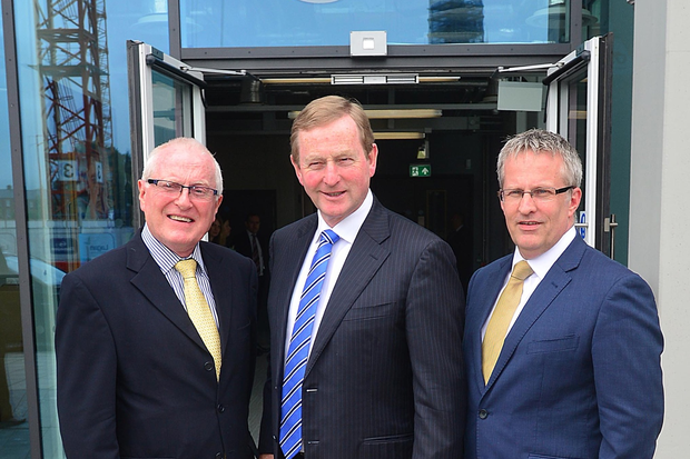 Enda Kenny with Professor Alastair Adair and Professor Paddy Nixon new Vice-Chancellor of University of Ulster before delivering a keynote speech at Ulster University, Belfast campus in Northern Ireland. Pic: Pacemaker Arthur Allison.