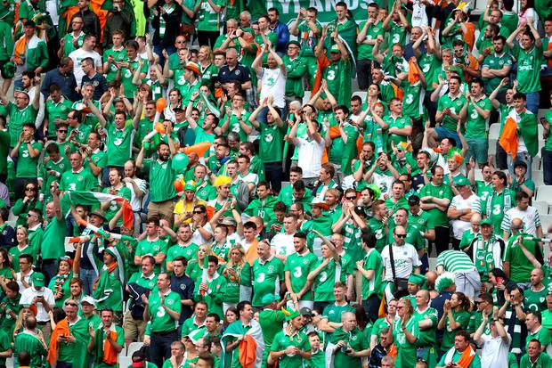 Republic of Ireland fans gallery: Supporters in the stands during the UEFA Euro 2016, Group E match at the Stade de France, Paris. File photo by John Walton/PA