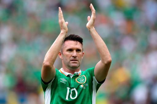 Republic of Ireland's Robbie Keane applauds supporters after the final whistle during the UEFA Euro 2016, Group E match at the Stade de France, Paris. PRESS ASSOCIATION Photo. Picture date: Monday June 13, 2016. See PA story SOCCER Ireland. Photo credit should read: John Walton/PA Wire. RESTRICTIONS: Use subject to restrictions. Editorial use only. Book and magazine sales permitted providing not solely devoted to any one team/player/match. No commercial use. Call +44 (0)1158 447447 for further information.
