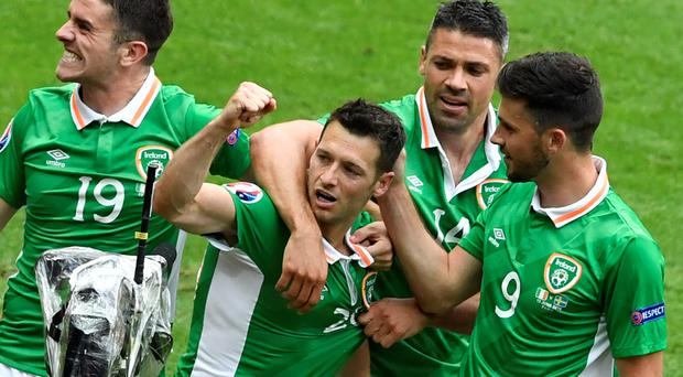 The Republic's Wes Hoolahan celebrates scoring his side's goal against Sweden