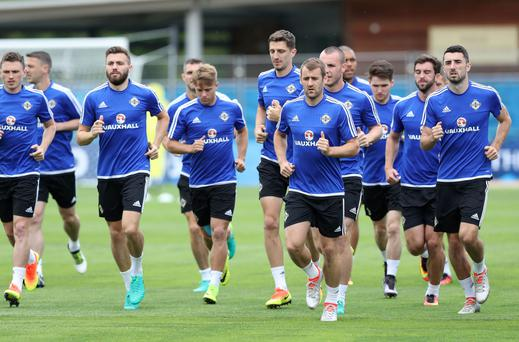 Northern Ireland players pictured during Tuesdays training session at the Parc de Montchervet in St Georges de Reneins, France ahead of their second Euro 2016 game against Ukraine on in Lyon on Thursday. Press Eye - Belfast - Northern Ireland - 14th June 2016 - Photo by William Cherry