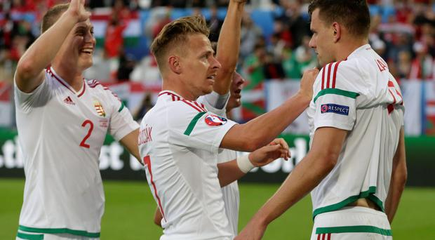 Hungary's Adam Szalai, right, celebrates with teammates after scoring, during the Euro 2016 Group F soccer match between Austria and Hungary at the Nouveau Stade in Bordeaux, France, Tuesday, June 14, 2016. (AP Photo/Petr David Josek)