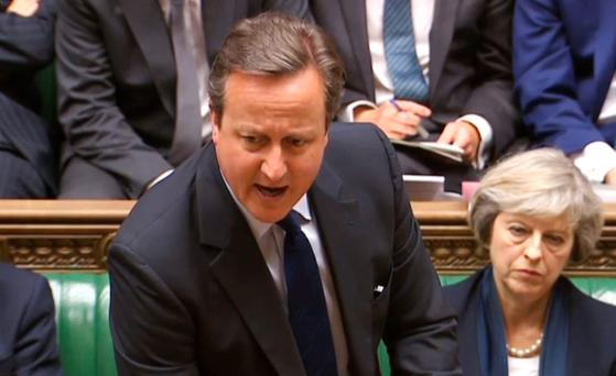 Prime Minister David Cameron speaks during Prime Minister's Questions in the House of Commons, London.