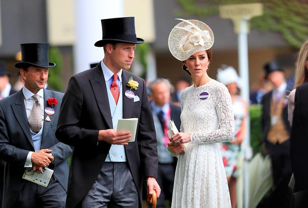 The Duke and Duchess of Cambridge during day two of Royal Ascot 2016, at Ascot Racecourse. PRESS ASSOCIATION Photo. Picture date: Wednesday June 15, 2016. See PA story RACING Ascot. Photo credit should read: David Davies/PA Wire. RESTRICTIONS: Use subject to restrictions. Editorial use only, no commercial or promotional use. No private sales. Call +44 (0)1158 447447 for further information