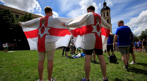 Northern Ireland football fans descend upon Place Antonin Poncet, adjacent to the fan zone in Lyon, France. PRESS ASSOCIATION Photo. Picture date: Wednesday June 15, 2016. See PA story SOCCER N Ireland. Photo credit should read: Jonathan Brady/PA Wire