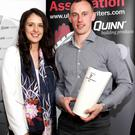 Reilly good: Cavan's Martin Reilly, winner of the Quinn Building Products UGAAWA May Merit Award, with his girlfriend, Jennifer Leonard, at the presentation in Quinn's Corner