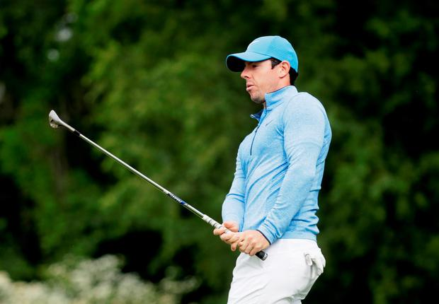 Tough test: Rory McIlroy during his final practice round at Oakmont ahead ofthe US Open