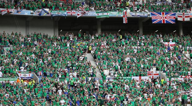 Press Eye - Belfast - Northern Ireland - 16th June 2016 - Photo by William Cherry Northern Ireland fans during Thursdays second Euro 2016 game against Ukraine at the Stade de Lyon, France.