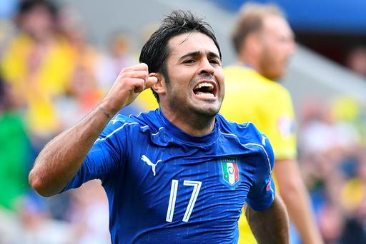 Italy's forward Citadin Martins Eder celebrates after scoring during the Euro 2016 group E football match between Italy and Sweden at the Stadium Municipal in Toulouse on June 17, 2016. / AFP PHOTO / VINCENZO PINTOVINCENZO PINTO/AFP/Getty Images
