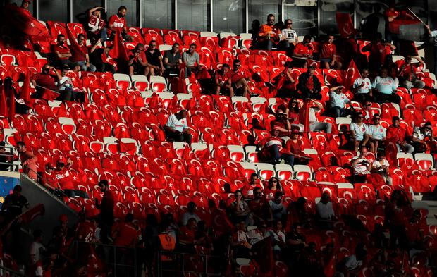 Turkish flags are lined up in the stands prior to the the Euro 2016 Group D soccer match between Spain and Turkey at the Allianz Riviera stadium in Nice, France, Friday, June 17, 2016. (AP Photo/Manu Fernandez)