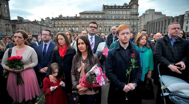 A vigil in George Square, Glasgow, for the Labour MP Jo Cox who was shot and stabbed to death in the street outside her constituency advice surgery in Birstall, West Yorkshire. PRESS ASSOCIATION Photo. Picture date: Friday June 17, 2016. See PA story POLICE MP. Photo credit should read: Jane Barlow/PA Wire